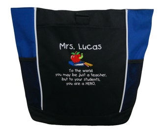 Tote Bag Personalized Teacher Hero Quote Aide Assistant Librarian Reading Teaching Books Apple Ruler Pencil Special Ed