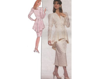 Two Piece Peplum Dress in 2 Lengths Simplicity 8947 UNCUT 1990s Sewing Pattern High Low Peplum with Back Detail Size 16 Bust 38
