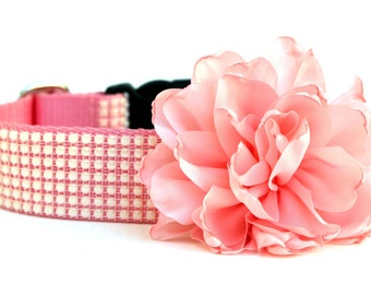 "Dog Collar Flower Add-on Pink Dog Collar Flower FOR 1"" BUCKLE COLLAR"
