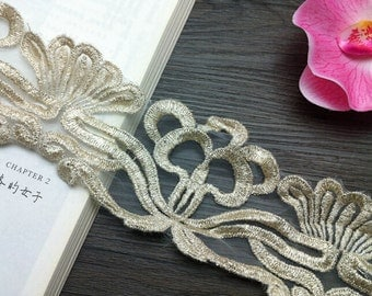 """2 yard 9cm 3.54"""" wide light gold tapes embroidery lace trim ribbon ewwe free ship"""