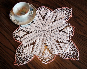 """Crochet Doily / Vintage White with Coral 12"""" Doily with a Scalloped Edge"""