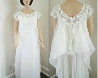 Vintage 60's- 70's Wedding Dress with Flower Appliques