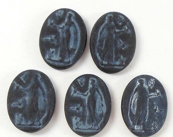 Vintage Czech Cameos, Grecian Ladies, Matte Black, Resin, Vintage, Three Styles, Jewelry Making, 18 x 13mm, Bsue Boutiques, Item05711