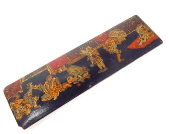 Antique Hand Painted Lacquered Asian Pencil Box