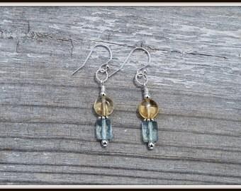 Aqua Blue Quartz Earrings, Blue Quartz and Citrine Earrings, Quartz Dangle Earrings, Blue Quartz Earrings, Earrings with Citrine