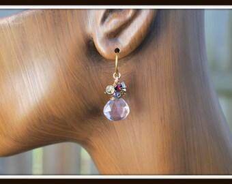 Pink Amethyst Earrings, Gemstone Cluster Earrings, Lavender Gemstone Dangles, Lavender Earrings, Briolette Earrings, Gemstone Briolette Drop