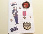 "Marine Card, Handmade, White, Marine, Freedom, Strong and Proud, Ribbon, Marines Sign, United States Marine Corps, Stars, Airplane, 5 x 7"""