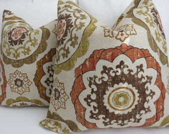 2 Pillow Covers -Suzani Decorative Pillows, 18x18 Suzani Green,Beige,Brown and Green Pillow covers,Cushion Pillows, Suzani Pillow Covers