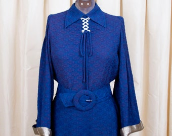 1930s Dress // Hollywood Starlet Blue Dress with Gold Lamé