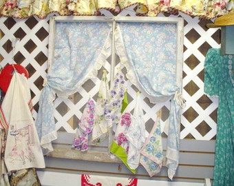 Vintage Window Repurposed Farmhouse Chicken Wire Display Blue Curtains Hankie Jewlery Picture Holder Cottage Chic Original