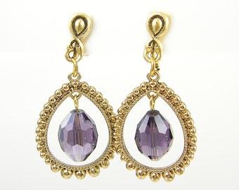 Purple Gold Clip Earrings, Purple Dangle Clip Earrings, Amethyst Clip Earrings Gold Teardrop Clip Earrings Non Pierced Jewelry |EC2-30