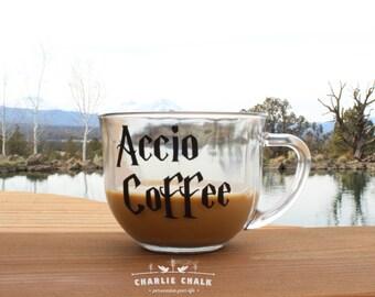 Coffee Mug DECAL Accio Coffee, Christmas Gift, Coffee Cup Decal, Coffee Mugs with Sayings, Stocking Stuffer, Gift Under 30, Made in the USA