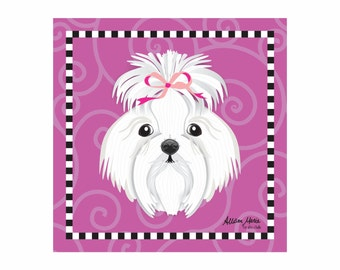Maltese Pet Portrait Art Print Illustration Wrapped Canvas 12x12x.75