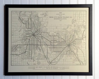 Twin Cities Transit Map - 1913
