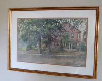 Vintage Paul Sawyier Lithograph Orlando Brown House Vintage Framed Numbered Paul Sawyier Listed Artist Lithograph from The Eclectic Interior