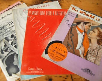 Vintage Sheet Music Vintage Annie Get Your Gun Porgy and Bess Je Vous Aime Ira Gershwin Sheet Music from The Eclectic Interior