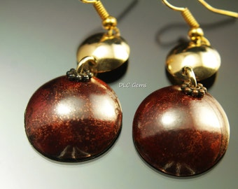 Red Patina Copper and brass earrings, disk earrings red patina earrings brass earrings handmade earrings handmade copper earrings
