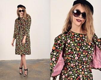 Vintage 60s Mod Dress Black Kitsch Colorful Flower Dress