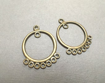 Antique Brass Chandelier Drop. Earring Findings. Hoop Earrings.   20mm. Two (One Pair).
