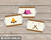 Camping Party - Mini Chocolate Wrappers - Girl Campout Sleepover - Glamping - INSTANT DOWNLOAD - Printable PDF