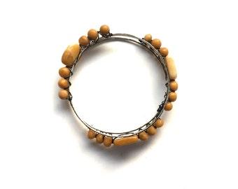 Bangle Bracelet Stack - Mustard Yellow Beaded Jewelry