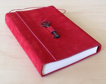 Red suede unlined journal