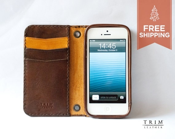 iPhone 5 5s SE Leather Wallet [FREE SHIPPING] [Handmade] [Custom Colours]
