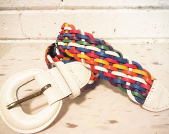Capezio rainbow belt leather woven colorful 1980's vintage retro fashion