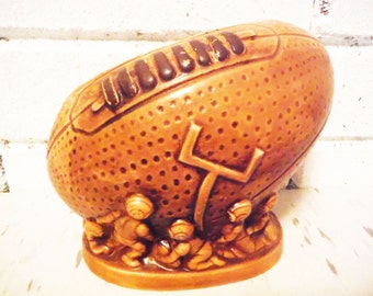 Vintage football shaped planter mid century sports athletic decor pencil cup  desk accessory brown sepia