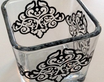 square glass vase or candle holder, container - filigree design