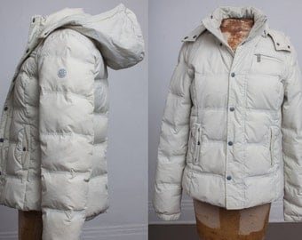90s DIESEL Womens Puffer Jacket, Feather Down Filled Winter Coat, Ski Snow Bunny, White Ivory Bone, Womens size Medium, Hood Hooded Overcoat