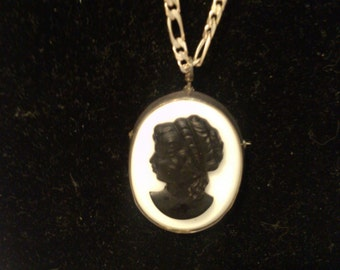"Black Caneo on Glass set in Sterling on 30"" Figaro Sterling Chain both Brooch & Necklace"