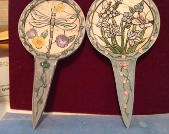 2 Ceramic Plant Stakes or Markers, Dragonfly and Buterfly