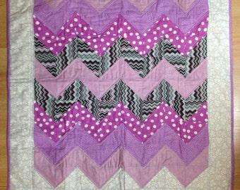 Purple Chevron Baby Quilt