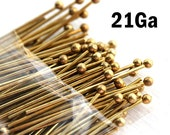 100 Raw Brass Ball Pin, 1 inch, 21Ga wire, Brass headpins for jewelry making, 25mm length - F428