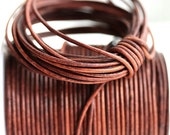 1mm Round Natural Leather cord - Vintage Brown Cognac - 10 feet, LC060