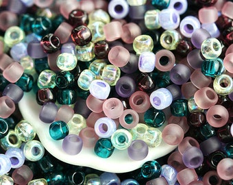 10g Toho Seed Beads Mix - Vineyard - MayaHoney Special Mix, 8/0 size, Purple, Teal, Lilac - S1024