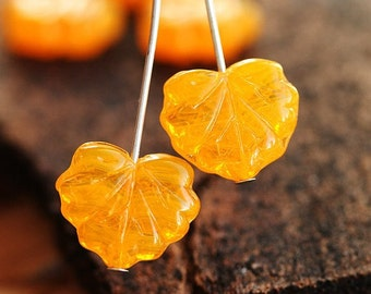 ON SALE Czech leaf beads, Maple leaves, glass, Orange yellow, pressed  - 11x13mm - 10Pc - 543
