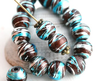 8mm Blue Brown and Silver Striped round beads, czech glass bright beads, coated, druk - 20Pc - 2522