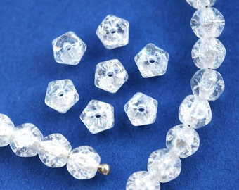 50pc Hexagon Crystal Clear beads, 5mm Crackled round czech glass spacers, 5mm beads - 1456