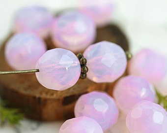 Opal Pink glass beads, 8mm Czech round beads, Baby pink beads, fire polished, faceted beads - 15Pc - 2724