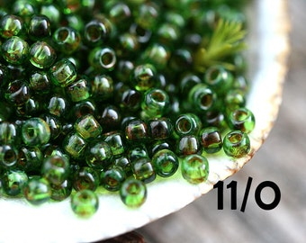 Picasso green Seed beads, TOHO, size 11/0, Transparent Peridot Picasso, Y318, hybrid, japanese seed beads - 10g - S638