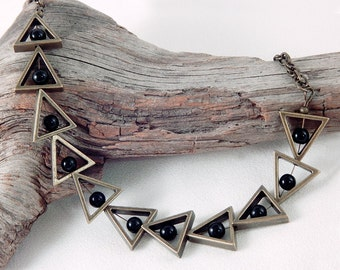 Antique Gold Triangle Necklace - Black Beads - Free Matching Earrings - Gifts Under 30