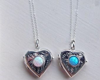 Sterling Silver & Opal Opening Heart Locket