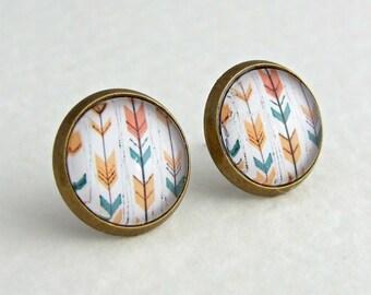 Chevron Earrings .. arrow earrings, pastel earrings, chevron studs, minimalist jewellery, peach, teal, gold