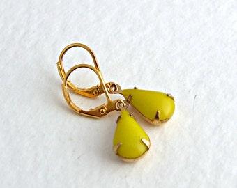 Yellow Teardrop Earrings .. neon yellow, citrus, yellow dangle, colourful earrings