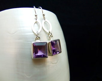 Amethyst Silver Handmade Drop Earrings
