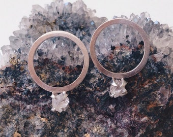 Claw Quartz Hoop Earrings - Sterling Silver