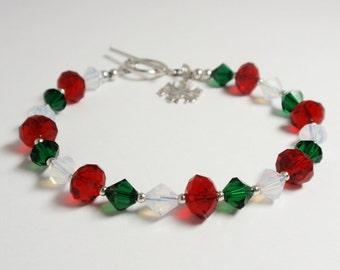 Christmas Bracelet, Holiday Bracelet, Swarovski Crystal Bracelet with Snowflake Charm