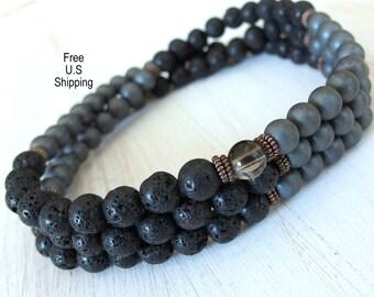 The basic Mala Men's 108 Lava, Matte Hematite, Smoky Quartz Guru bead, Meditation Necklace or bracelet, Mens mala, 108 mens, wrap bracelet